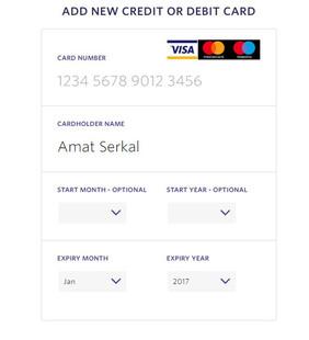 Add New Credit or Debit Card