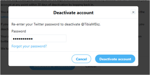 deactive account twitter